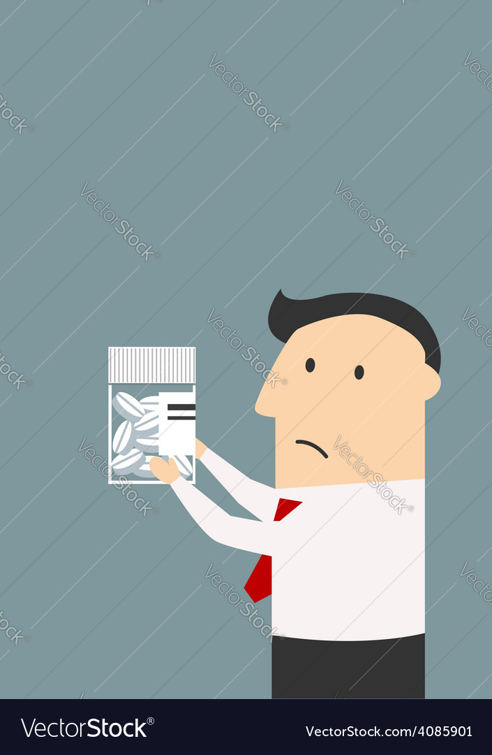 Businessman holding a package of pills vector | Price: 1 Credit (USD $1)