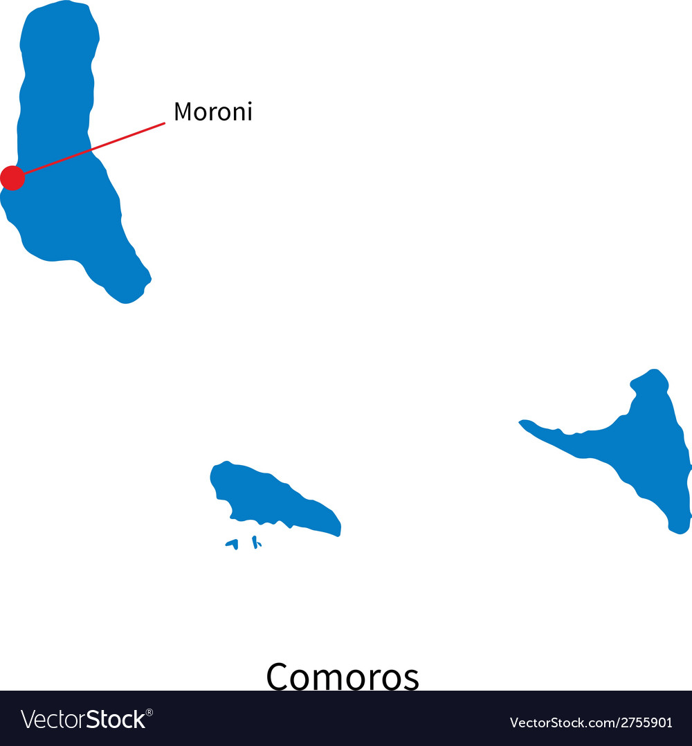 Detailed map of comoros and capital city moroni vector | Price: 1 Credit (USD $1)