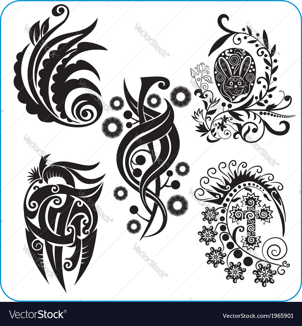 Easter design - set floral symbols vector | Price: 1 Credit (USD $1)