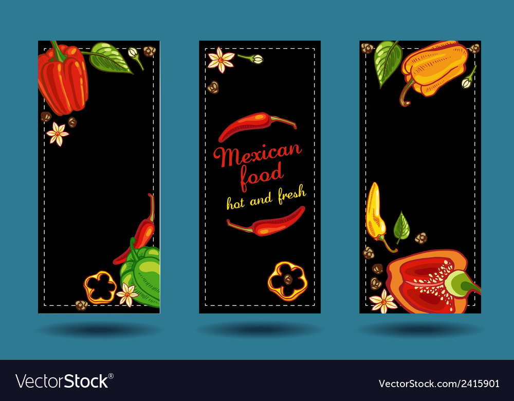 Frame of peppers on black background vector | Price: 1 Credit (USD $1)