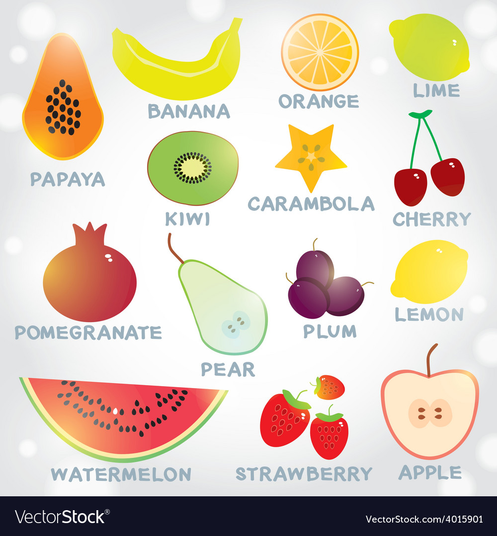 Fresh bright juicy fruits set on a white vector | Price: 1 Credit (USD $1)
