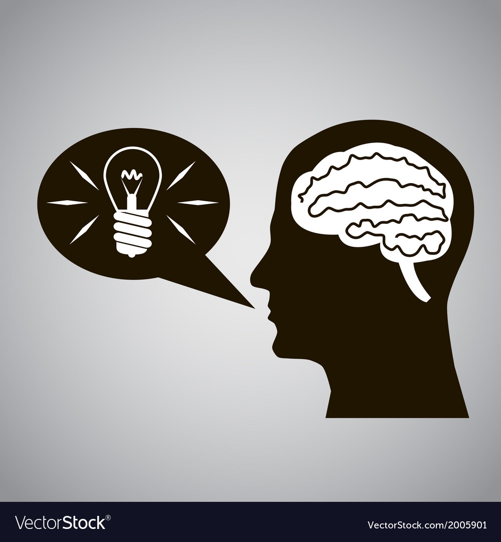 Headmind brain head silhouette generate lamp idea vector