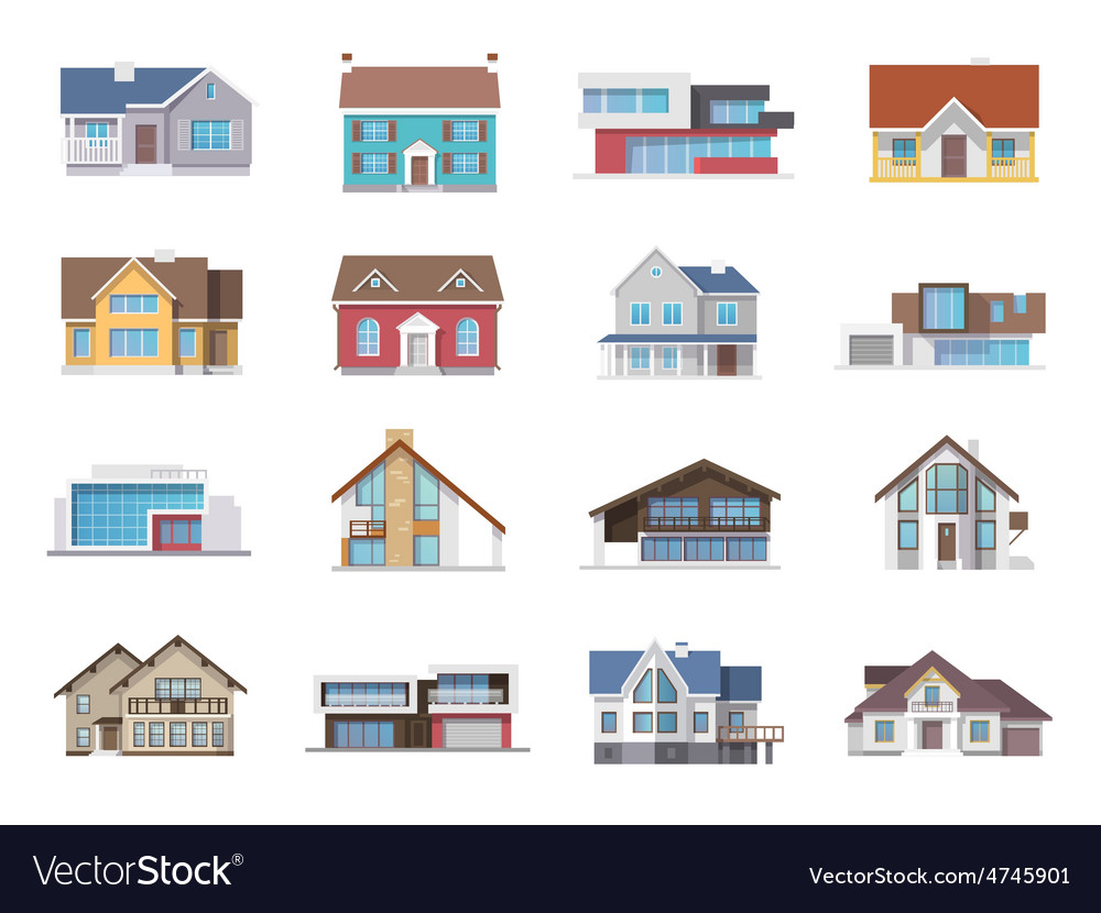 House icons flat vector | Price: 1 Credit (USD $1)