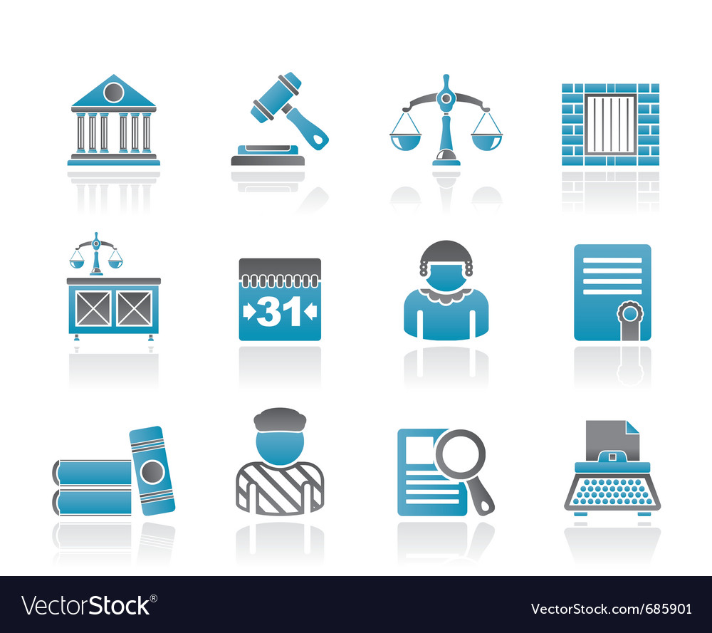 Justice and judicial system icons vector | Price: 1 Credit (USD $1)