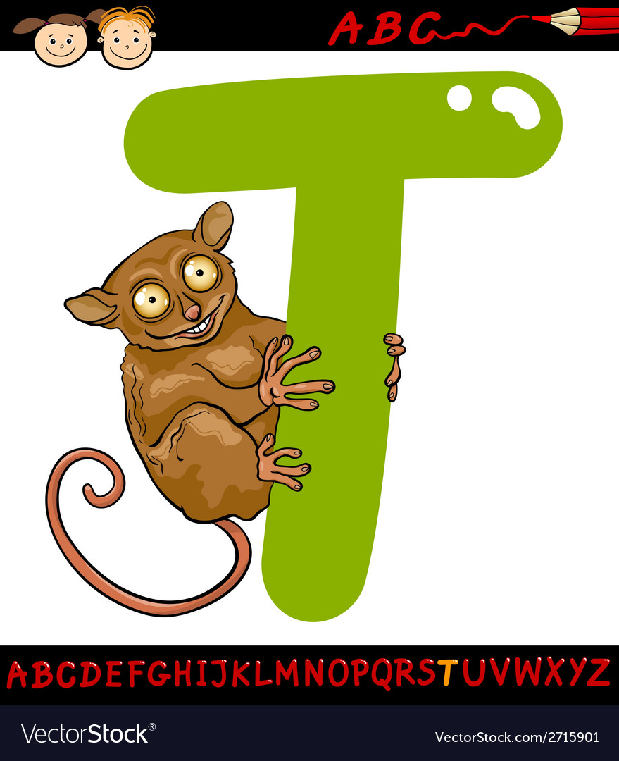 Letter t for tarsier cartoon vector | Price: 1 Credit (USD $1)