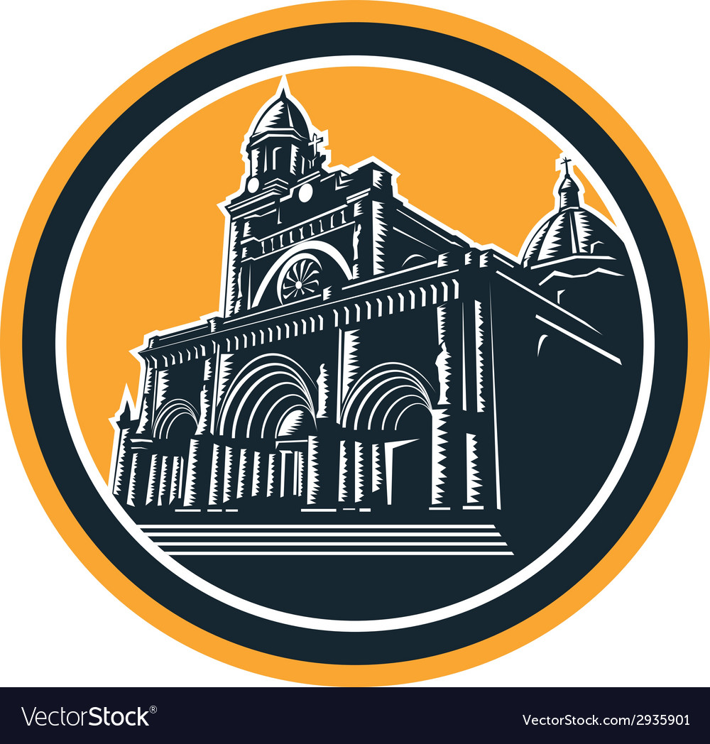 Manila cathedral woodcut retro vector | Price: 1 Credit (USD $1)