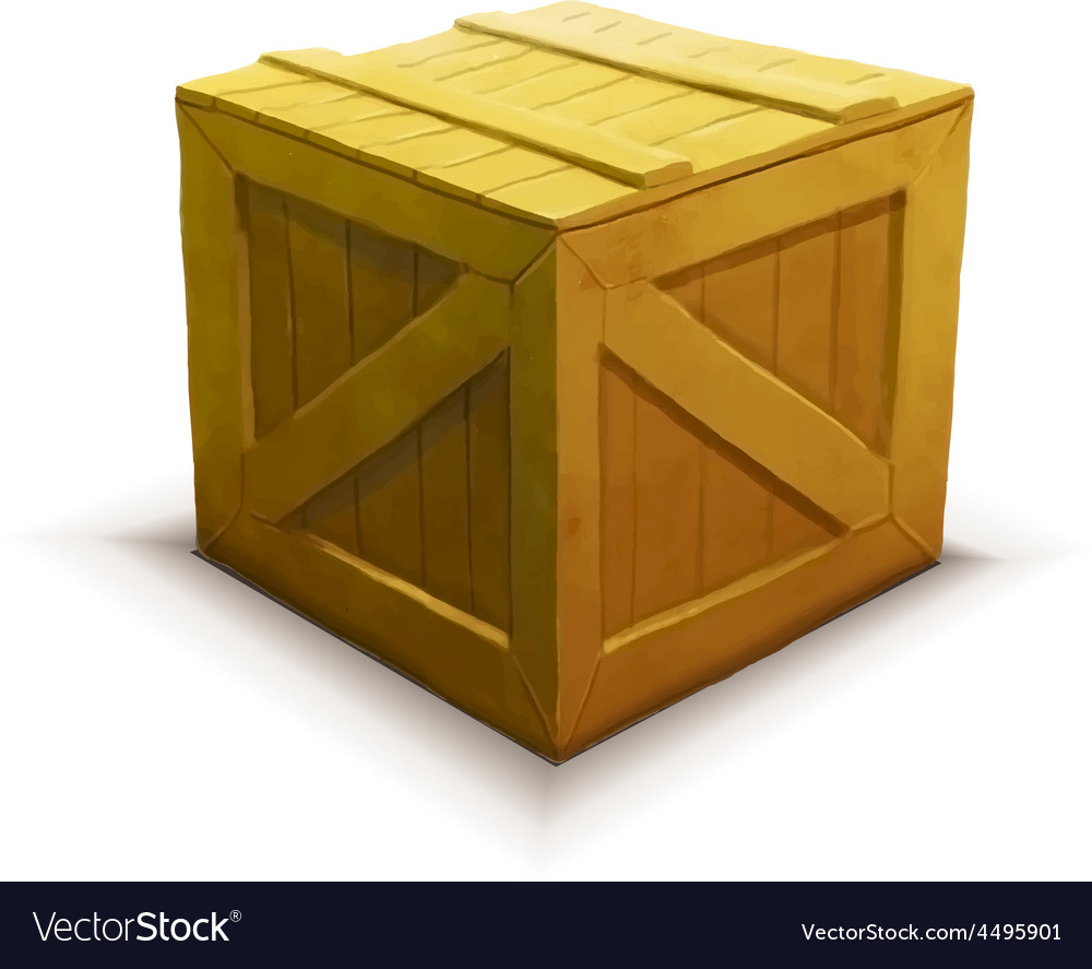 Yellow wooden crate realistic icon isolated on vector | Price: 1 Credit (USD $1)
