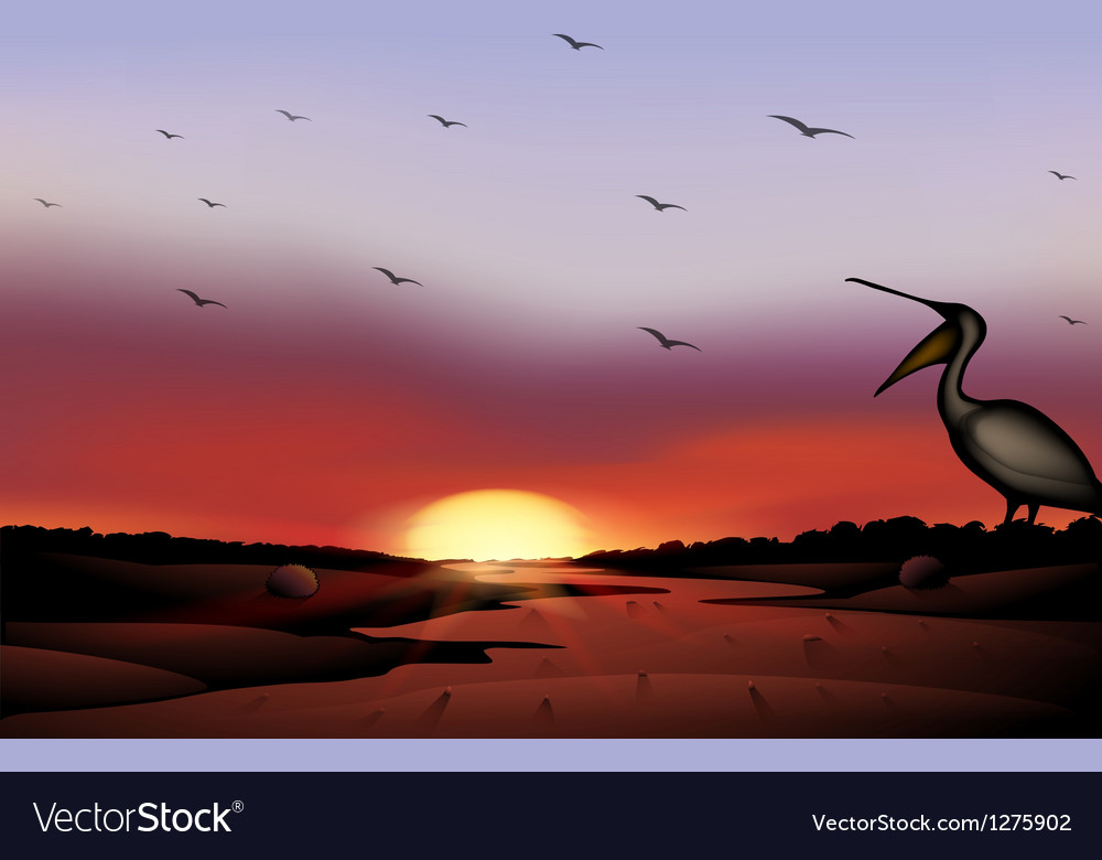 A sunset with a flock of birds vector | Price: 1 Credit (USD $1)
