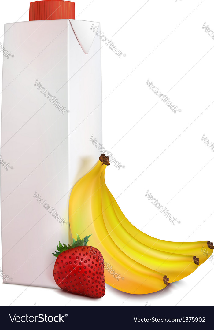 Banana strawberry juice in carton tetra pack vector | Price: 1 Credit (USD $1)