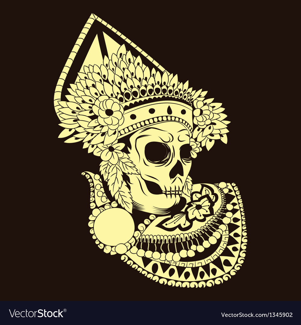 Baris skull balinese dances vector | Price: 1 Credit (USD $1)