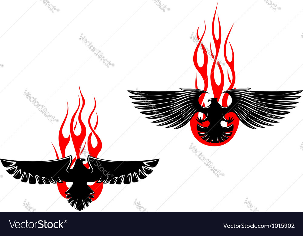 Black eagles with tribal flames vector | Price: 1 Credit (USD $1)