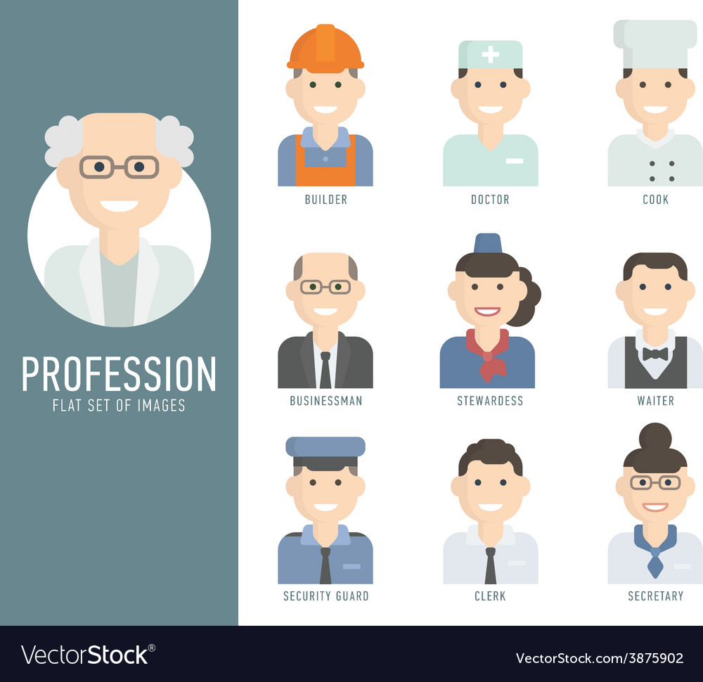 Different people professions characters set flat vector | Price: 1 Credit (USD $1)