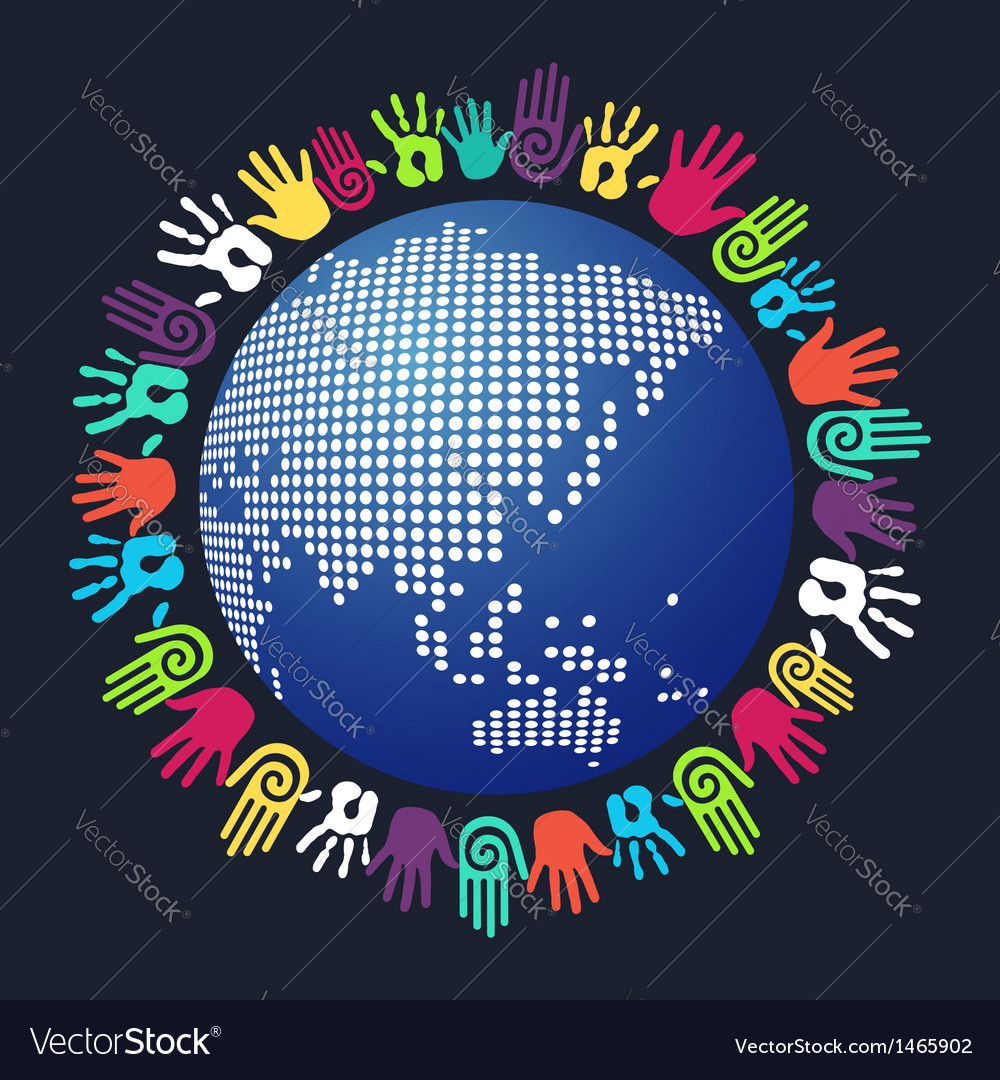 Diversity human hand asian world vector | Price: 1 Credit (USD $1)