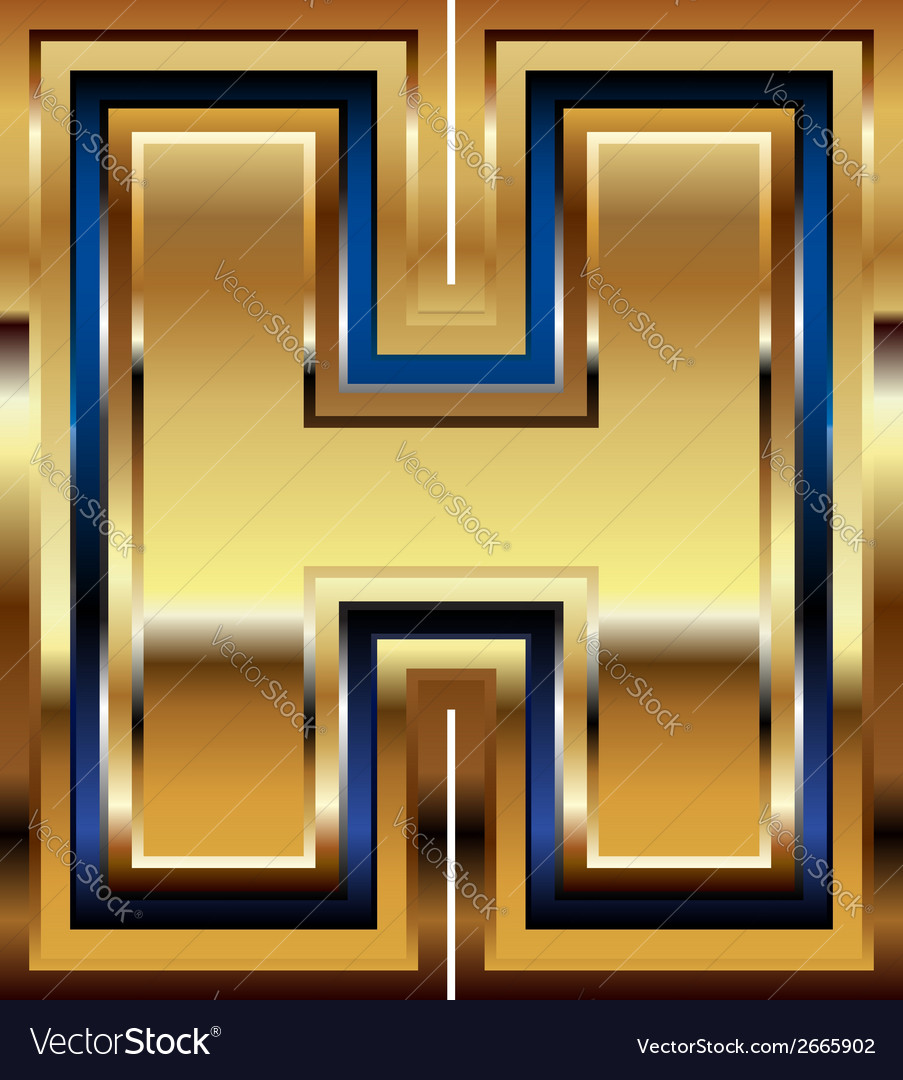 Golden font letter h vector | Price: 1 Credit (USD $1)