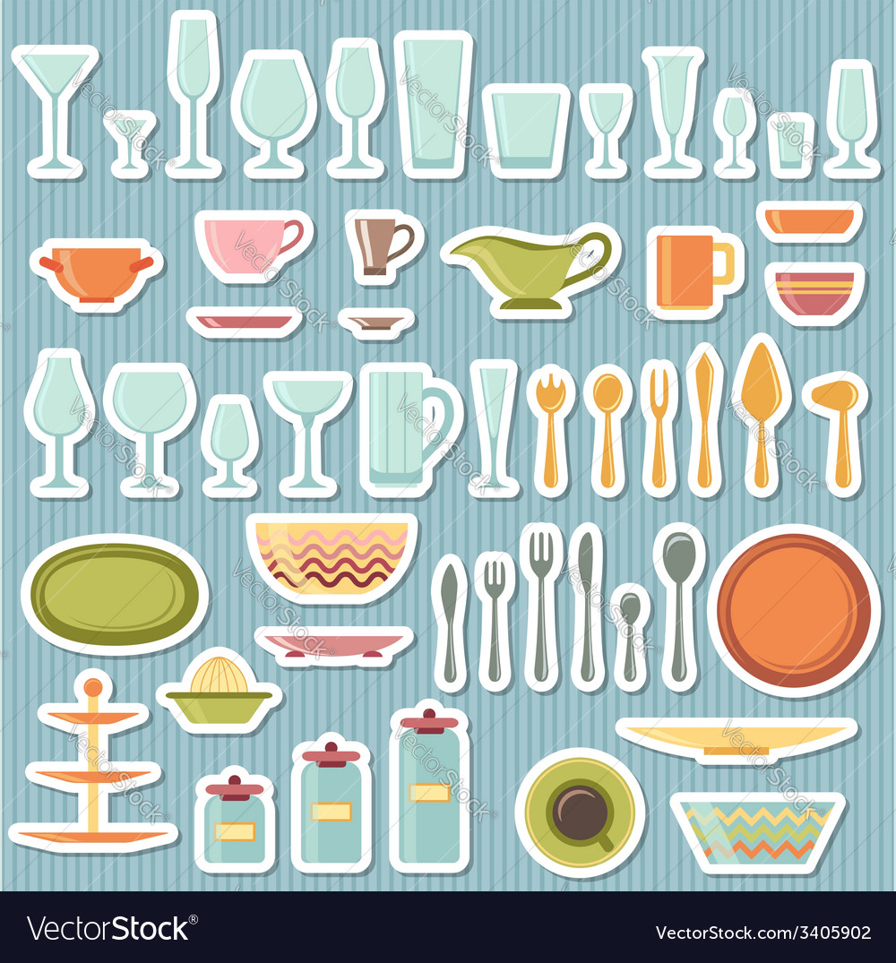 Kitchen utensils and cookware icons set vector   Price: 1 Credit (USD $1)