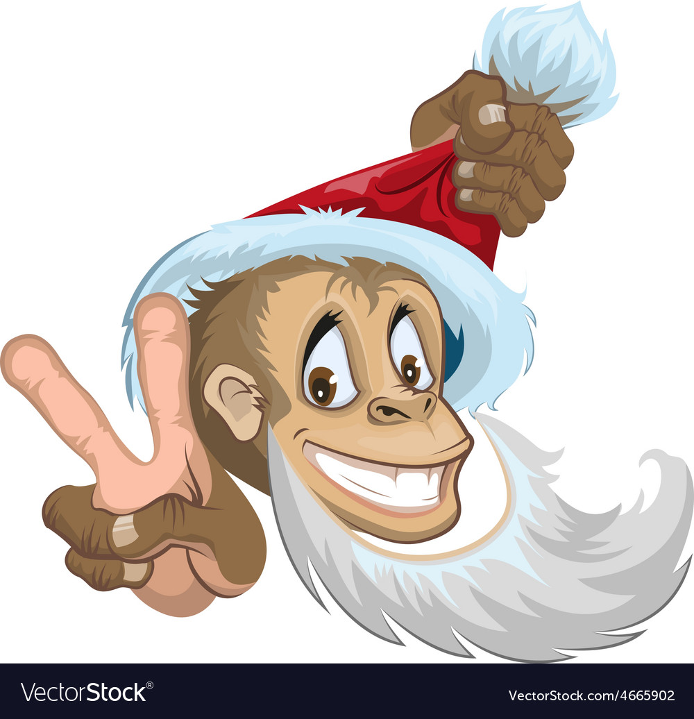 Monkey in santa hat showing two fingers - gesture vector | Price: 3 Credit (USD $3)