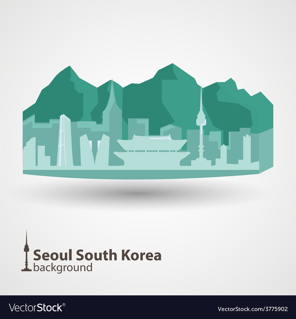 Seoul south korea skyline vector | Price: 1 Credit (USD $1)