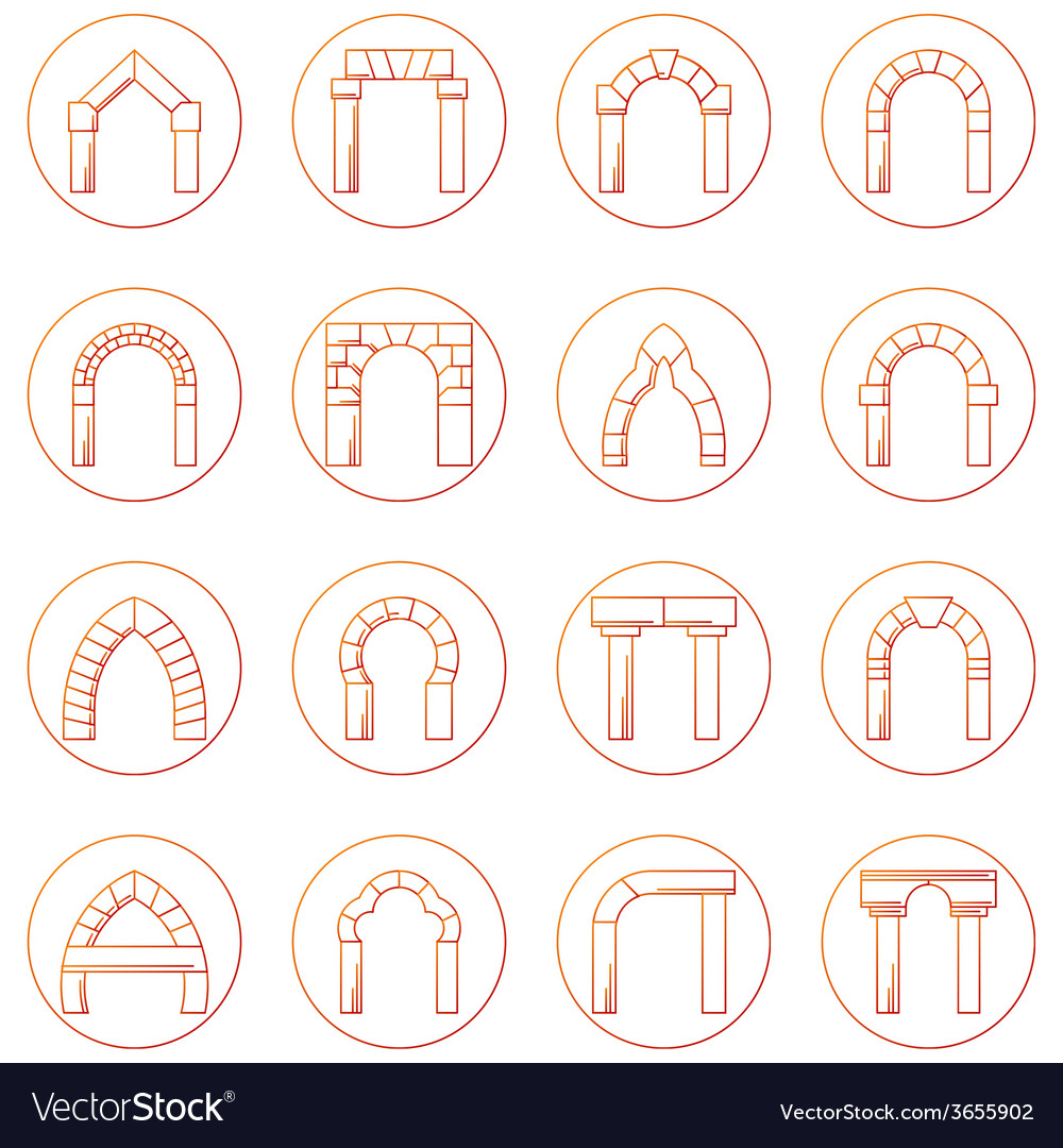 Sketch icons collection of different types arch vector | Price: 1 Credit (USD $1)