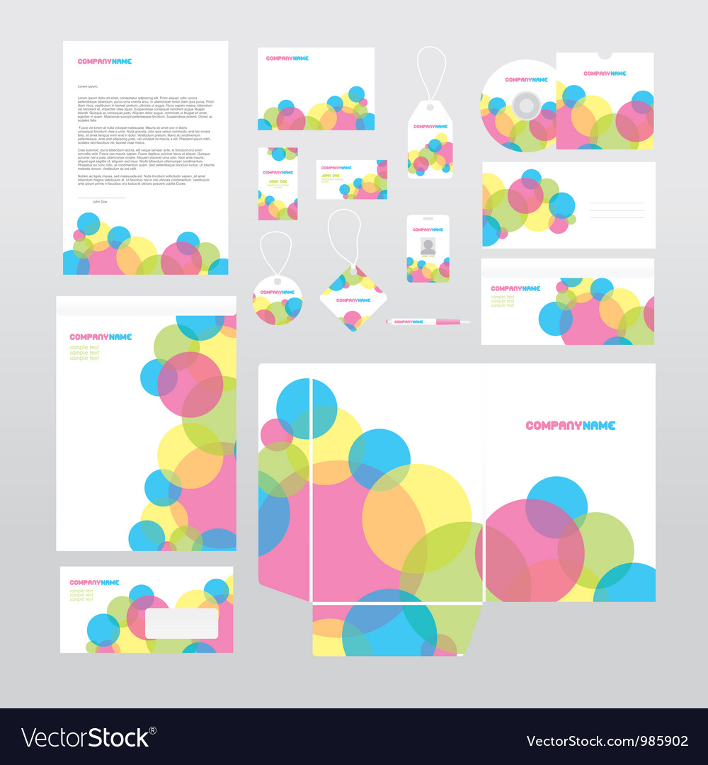 Stationery set with colorful circles vector | Price: 1 Credit (USD $1)