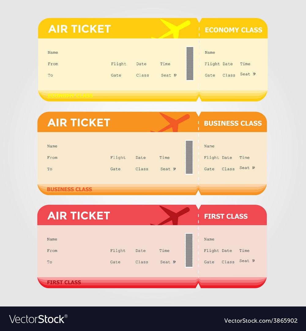 Three classes of blank flight boarding pass vector   Price: 1 Credit (USD $1)