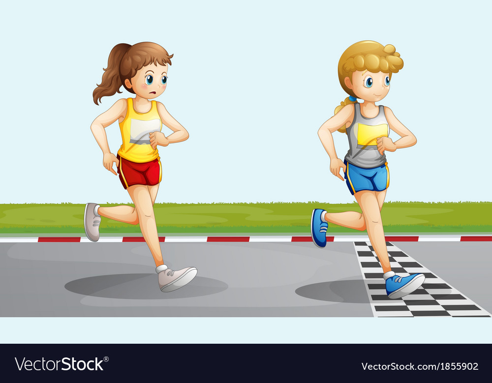 Two lovely girls racing vector | Price: 3 Credit (USD $3)