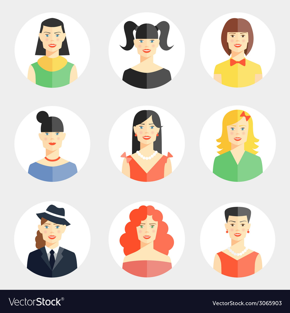 Beautiful young woman faces in flat style vector | Price: 1 Credit (USD $1)