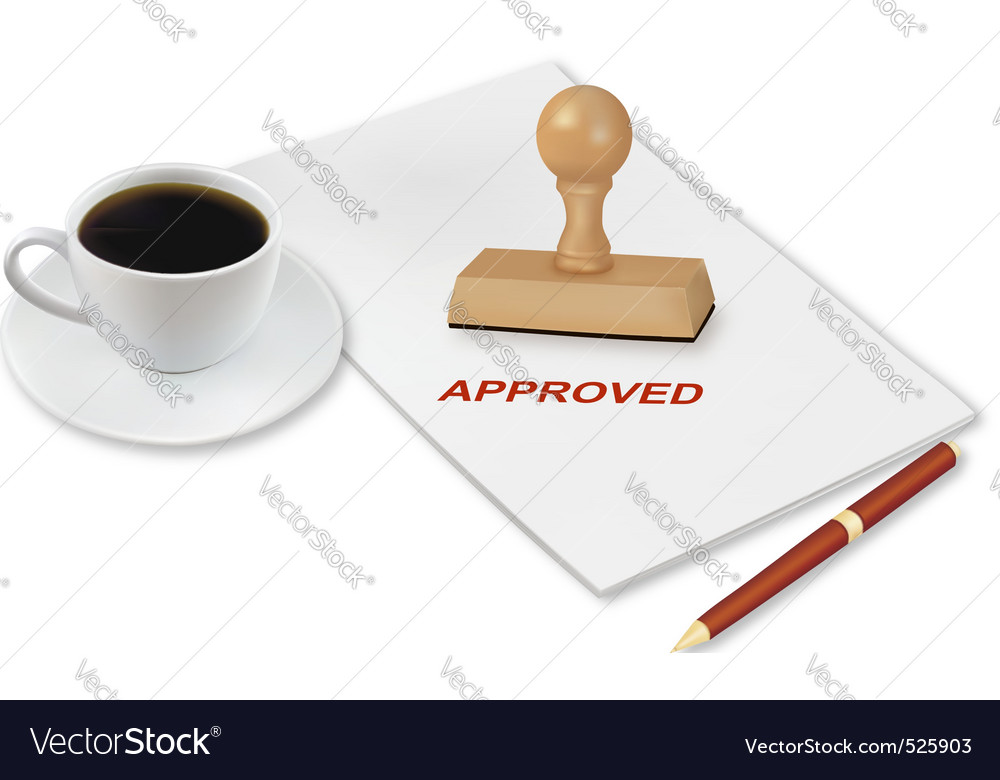 Coffee and approved vector | Price: 1 Credit (USD $1)