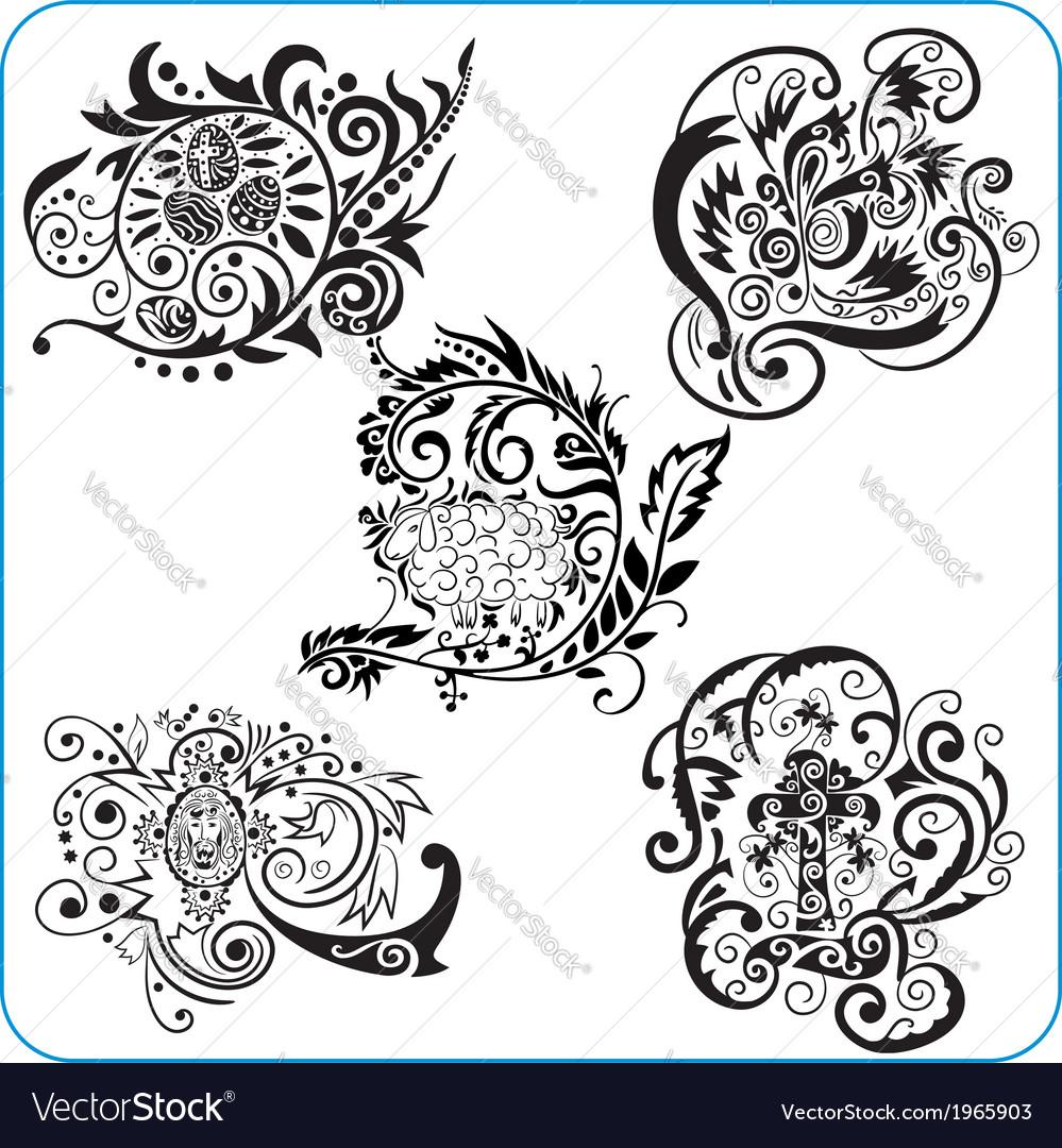 Easter design - set floral symbols vector | Price: 1 Credit (USD $1)