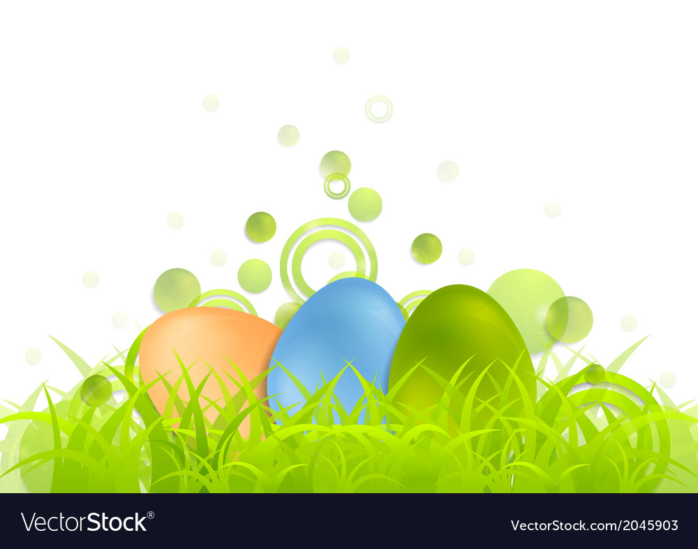 Easter egg background with green grass vector | Price: 1 Credit (USD $1)