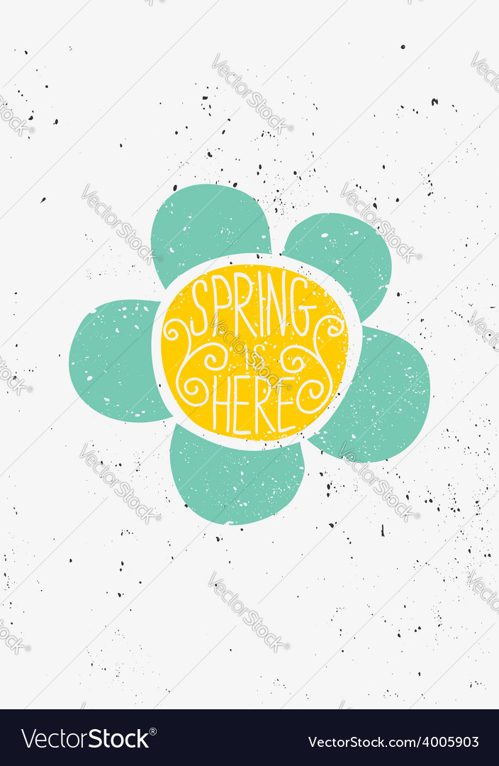 Hand drawn spring is here flower design vector | Price: 1 Credit (USD $1)