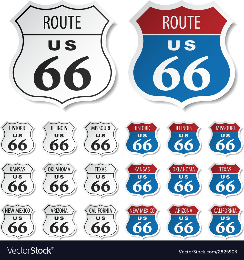 Historic route 66 stickers vector | Price: 1 Credit (USD $1)