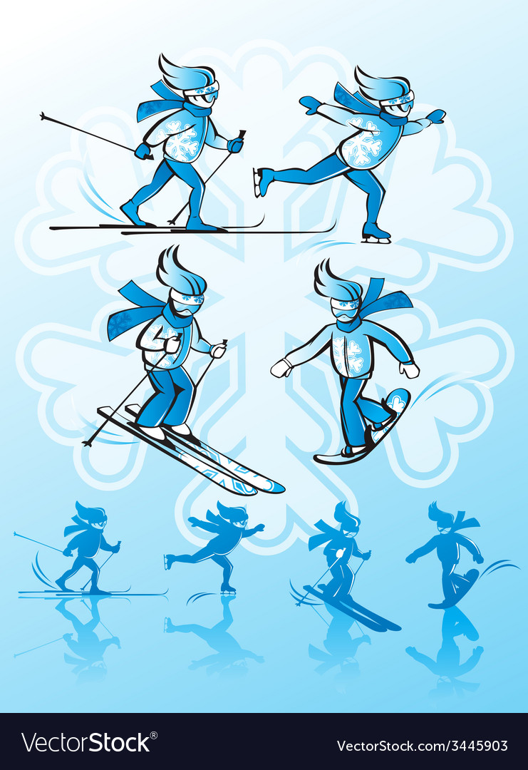 Image of winter sports alpine skiing cross-country vector | Price: 1 Credit (USD $1)