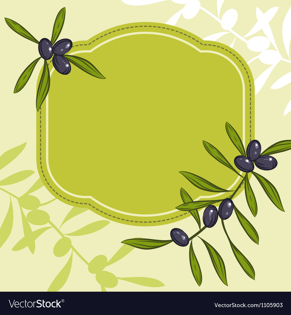 Label for product olive oil green olives vector | Price: 1 Credit (USD $1)