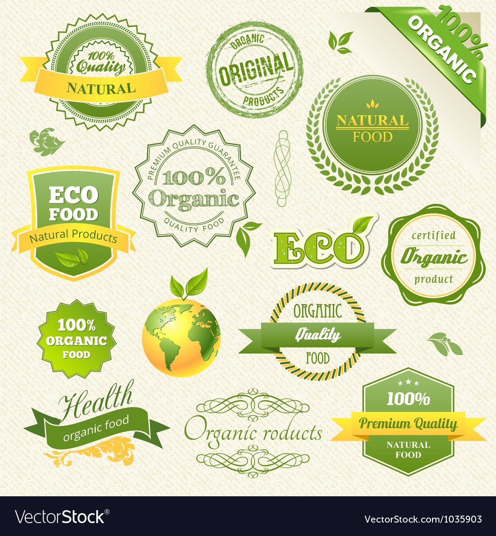 Organic food eco bio labels and elements vector | Price: 1 Credit (USD $1)
