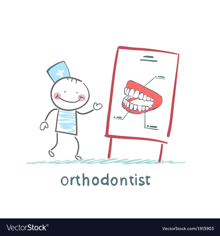 Orthodontist tells presentation about teeth vector | Price: 1 Credit (USD $1)