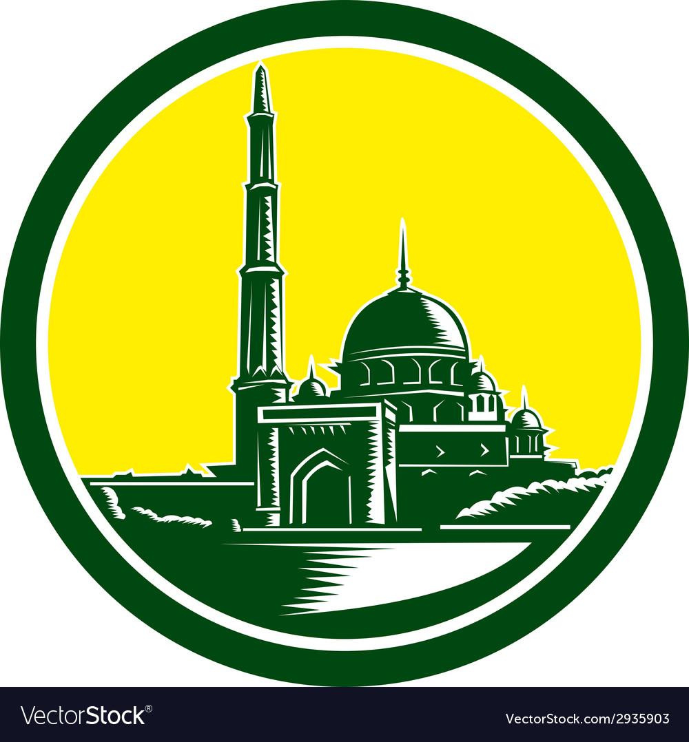Putra mosque woodcut retro vector | Price: 1 Credit (USD $1)