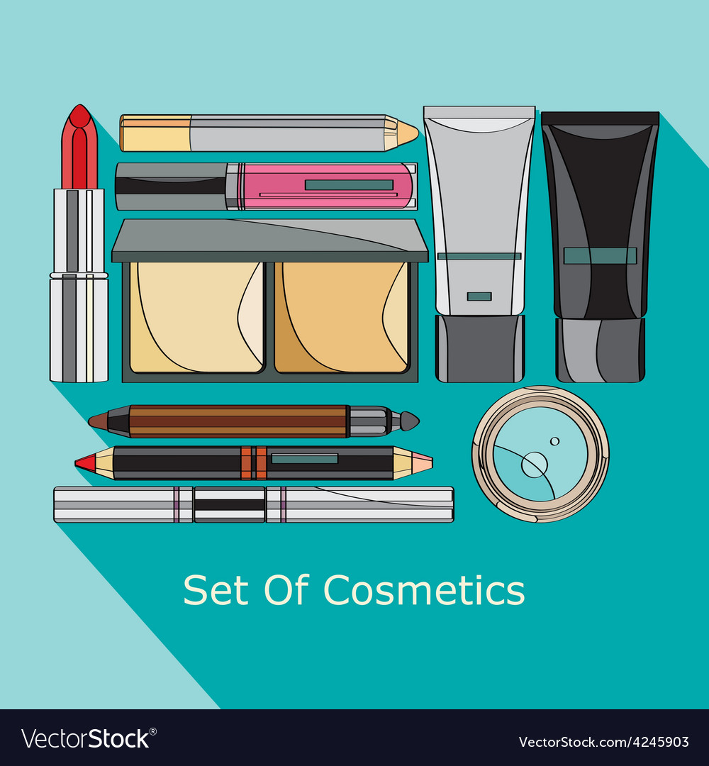 Set of cosmetics in style flat vector | Price: 1 Credit (USD $1)