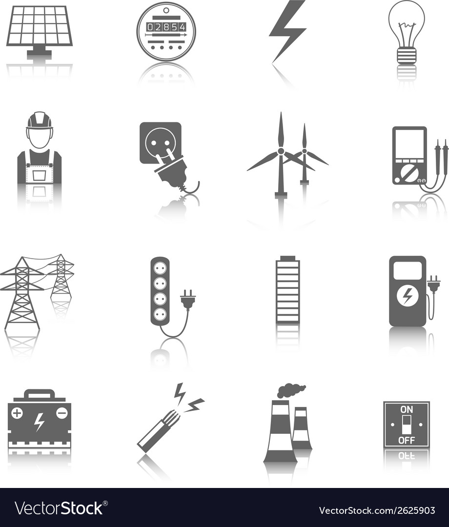 Set of electricity icons vector | Price: 3 Credit (USD $3)