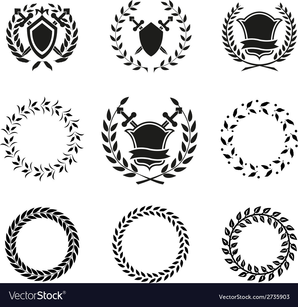 Shields and wreaths labels vector | Price: 1 Credit (USD $1)