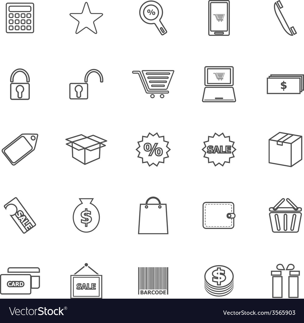 Shopping line icons on white background vector | Price: 1 Credit (USD $1)