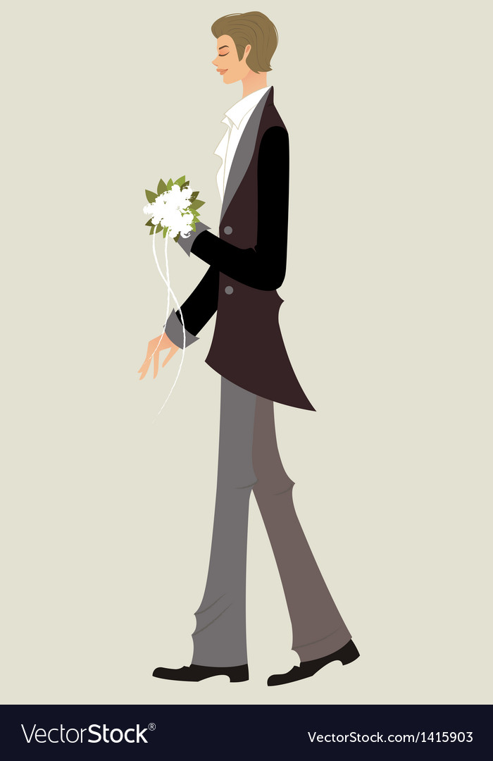 Side view of man standing with bouquet vector | Price: 3 Credit (USD $3)