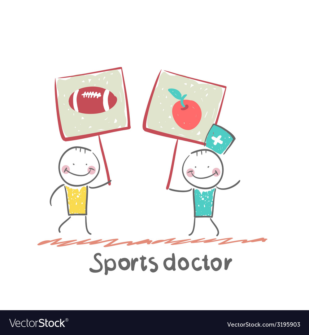 Sports doctor holds a banner with a painted apple vector | Price: 1 Credit (USD $1)