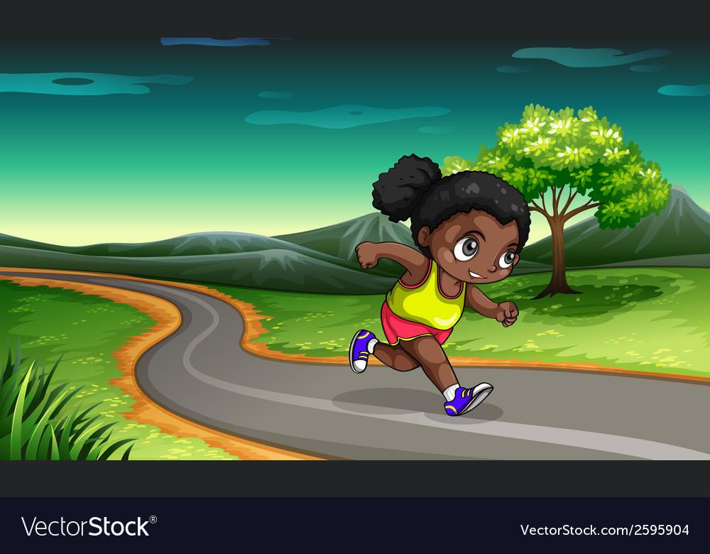 A black girl jogging vector   Price: 3 Credit (USD $3)