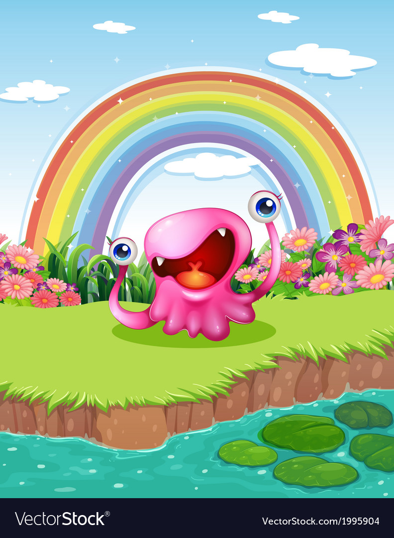 A monster at the pond with a rainbow in the sky vector | Price: 3 Credit (USD $3)