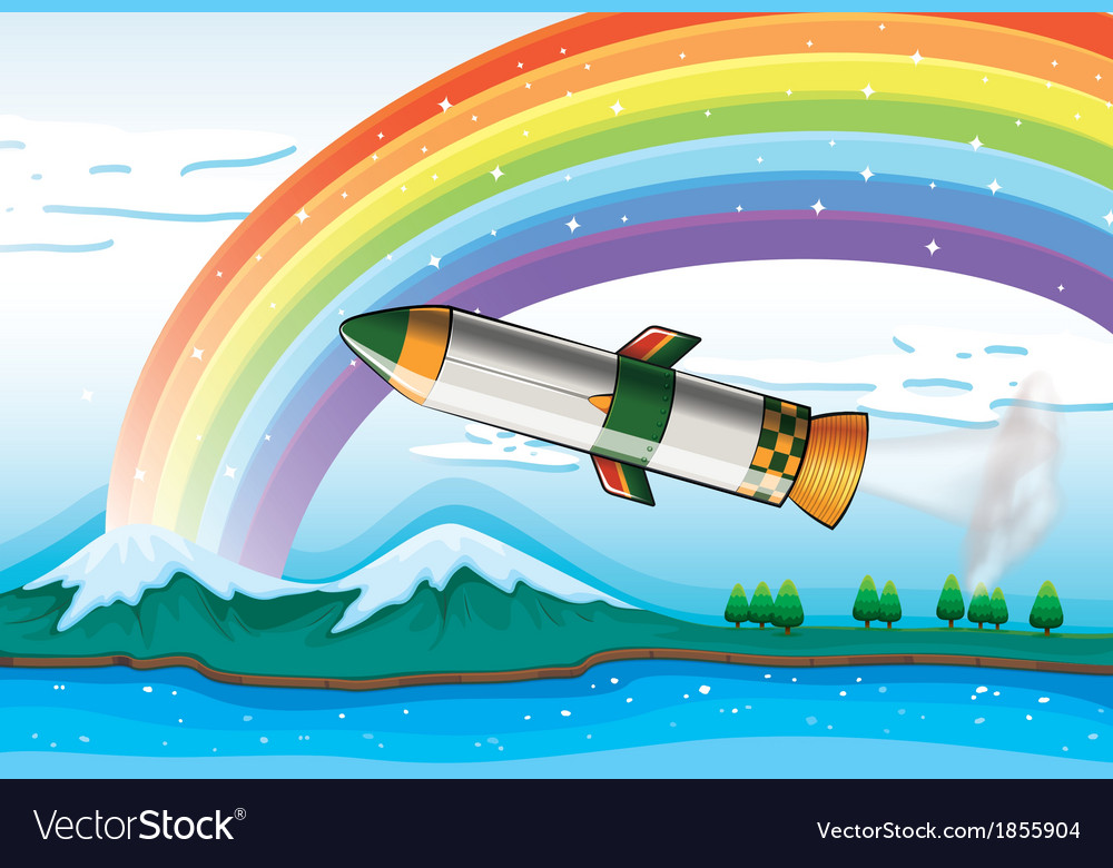 A rainbow above the ocean and an aircraft vector | Price: 3 Credit (USD $3)