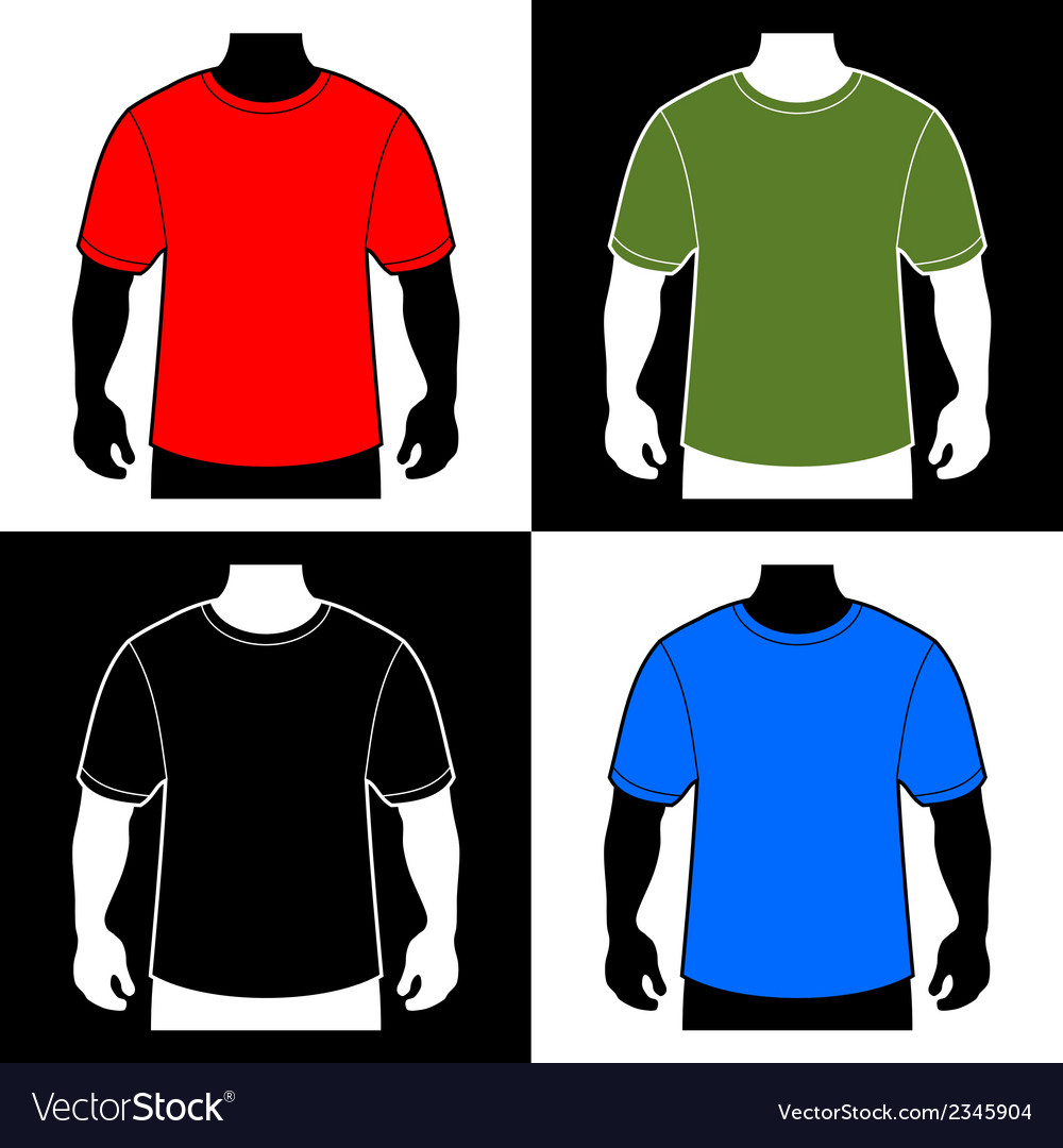 Blank color t-shirt men body silhouette vector | Price: 1 Credit (USD $1)