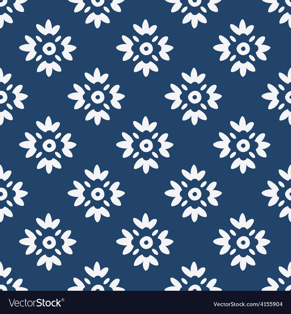Blue and white delft pattern vector | Price: 1 Credit (USD $1)