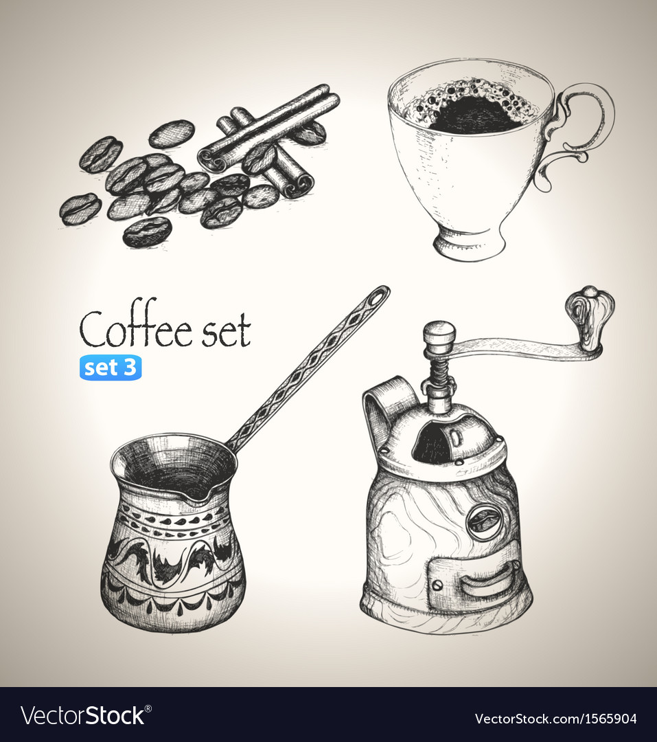 Coffee set beans cup cezve and mill vector | Price: 1 Credit (USD $1)