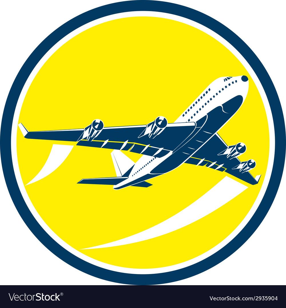 Commercial jet plane airline circle retro vector