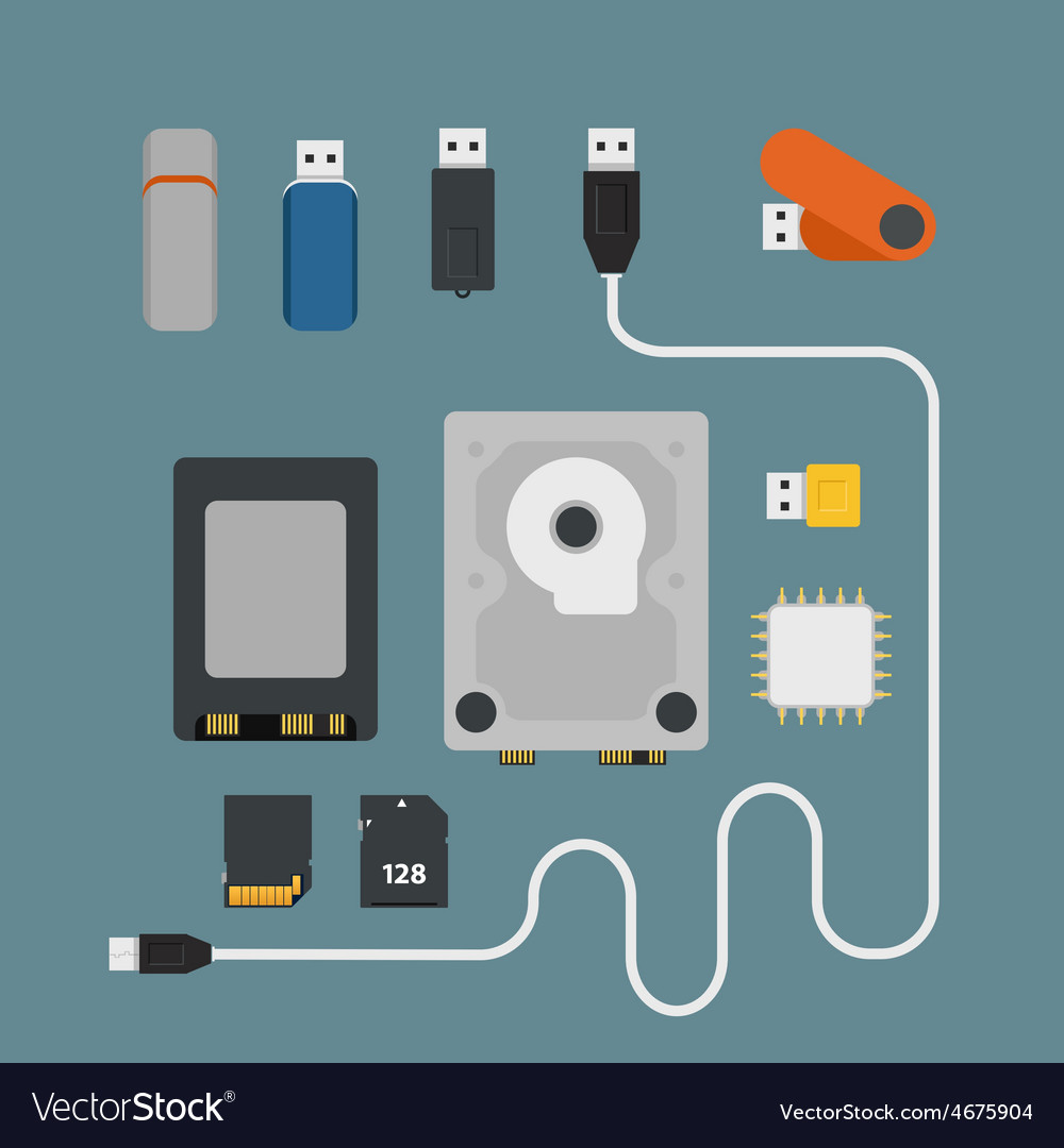 Different memory storage devices vector | Price: 1 Credit (USD $1)